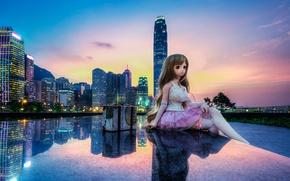 Picture sunset, the city, reflection, China, toy, building, Hong Kong, doll, China, Hong Kong, Tamar Park, …