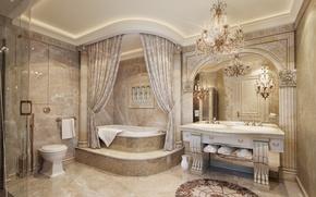 Picture house, Villa, interior, mirror, chandelier, bathroom, luxury