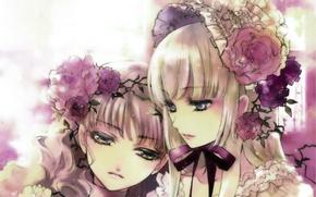 Picture flowers, Sisters, ruffles, headdress