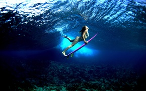 Picture water, girl, the ocean, sport, surfing, Board, surfing