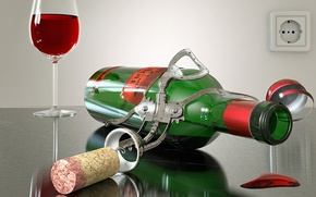 Wallpaper glass, bottle, Wine, tube