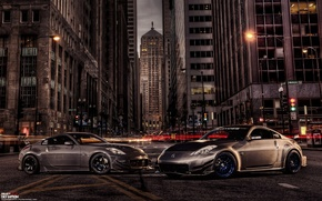 Picture car, night, the city, tuning, tuning, rechange, nissan 350z