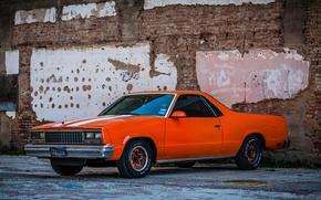 Picture retro, wall, street, car, Chevrolet El Camino