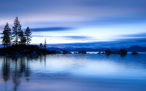 Picture the sky, water, clouds, trees, lake, surface, reflection, blue, shore, the evening, USA