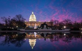 Picture winter, water, light, trees, pond, Park, reflection, lighting, lights, Washington, tree, USA, USA, Capitol, park, …
