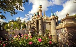 Picture the sky, flowers, castle, paint, beauty, CA, USA, Disneyland, amusement Park, Anaheim, The Walt Disney