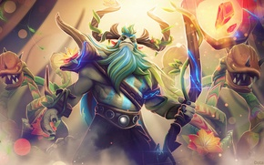 Picture art, horns, staff, beard, Dota 2, Nature's Prophet, ChemicalAlia, evil flowers