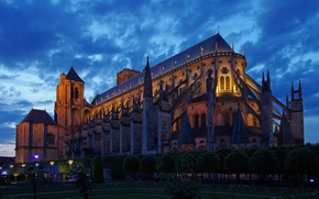 Picture the sky, clouds, trees, lights, Park, France, the evening, Cher, Bourges, Cathedral Saint-étienne