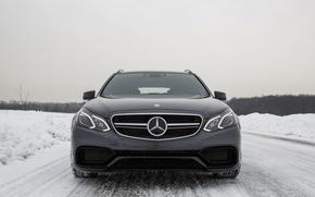 Picture Winter, Snow, Mercedes, E63 AMG, S-Model, 4Matic