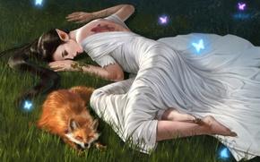 Picture grass, animal, dress, art, Fox, tattoo, lies, bracelet, elf, fantasy