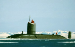 Picture art, painting, drawing, submarine, HMS Tireless