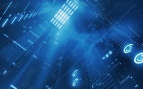 Wallpaper light, information, charge, blue, data
