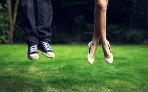 Picture blue, widescreen Wallpaper, sneakers, HD wallpapers, jump, male, greens, girl, full screen, in the air, ...