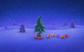 Wallpaper tree, gifts, holiday, snow, night, winter