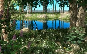 Picture greens, landscape, pond, plants, cell, garden, art