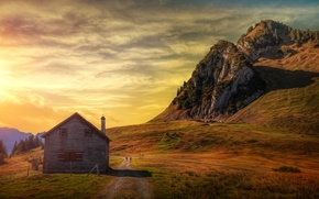 Picture the sky, the sun, mountains, house, treatment