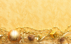 Picture gold, Wallpaper, toys, new year, bumps, ribbons, chain