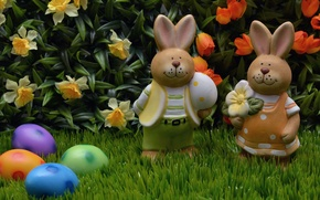 Picture grass, flowers, nature, holiday, eggs, Easter, pair, tulips, rabbits, figures, daffodils, Easter, eggs