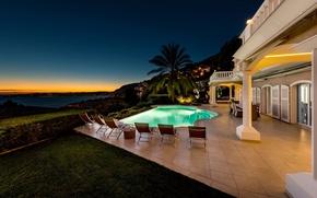 Picture Villa, the evening, pool, Monaco