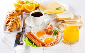 Picture sausage, coffee, oranges, Breakfast, cheese, juice, bread, scrambled eggs, tomatoes, bacon, toast, croissants, bagels