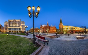 Picture lights, Moscow, The Kremlin, Russia, Manezhnaya square