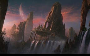 Picture waterfall, planets, rocky mountains