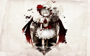 Picture bats, red eyes, touhou, predatory, vampire, Touhou Project, Remilia Scarlet, hell of a grin, project …
