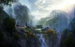 Picture landscape, mountains, the city, art, The Lord of the Rings, Rivendell