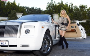 Picture road, girl, trees, machine, Rolls-Royce, auto white convertible