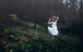 Picture forest, girl, dance, dress, Dreamweaver, Andrea Peipe
