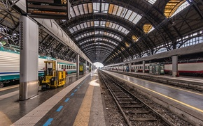 Picture station, station, railroad, Milan, W/d