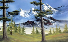 Picture forest, the sky, snow, trees, landscape, mountains, picture, branch, painting, stump, Bob Ross, mountain glory