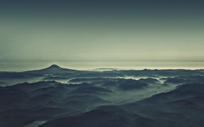 Picture Mountains, Fog, River, Morning