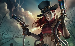 Picture steampunk, weapons, warrior, makeup