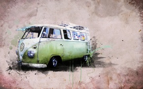 Wallpaper style, creative, hippie van, Transporter 1 Samba BUS, Creative, Volkswagen
