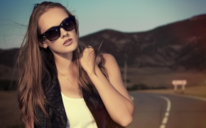 Wallpaper road, girl, sunglasses, hair. the wind