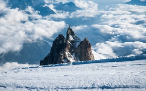 Wallpaper winter, the sky, clouds, mountains, rocks, home, Alps