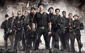 Wallpaper Sylvester Stallone, Chuck Norris, Randy Couture, Booker, Jason Statham, Jean-Claude Van Damme, The Expendables 2, ...