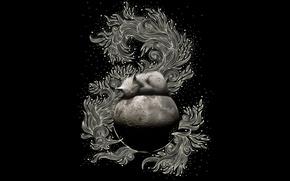 Wallpaper the moon, pattern, Koshak, black