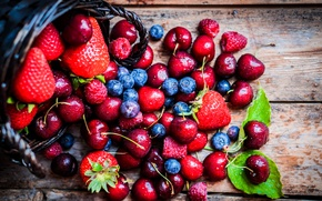 Picture drops, cherry, berries, food, blueberries, strawberry