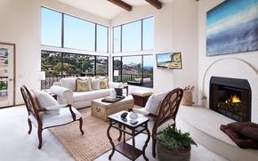 Picture design, sofa, furniture, fireplace, mansion, Design, Interior, Living