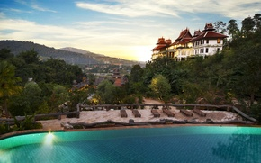 Picture the city, home, pool, Thailand, panorama