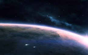Picture space, stars, planet, ships