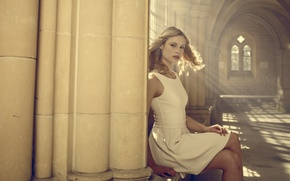 Picture dress, fantasy, blonde, hall, in white, horror, Vampire Academy, Vampire Academy, Lucy Fry, Lucy Fry