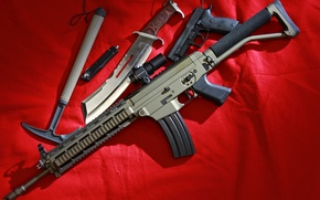 Picture gun, weapons, knife, machine, Assault rifle, hatchet, SIG 556