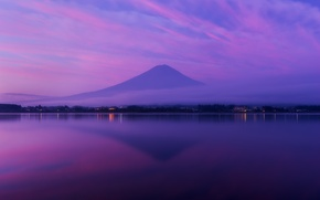 Picture Fuji, the volcano, mountain, reflection, Honshu, fog, Bay, Japan, the evening, lilac, the ocean, the ...