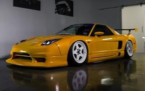 Picture yellow, Acura, NSX, white. wheels