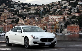 Picture Maserati, Quattroporte, Water, The city, White, Logo, Background