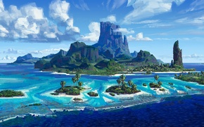 Wallpaper cinema, waves, wallpaper, Disney, sky, sea, landscape, nature, cloud, mountain, island, cartoon, movie, palm trees, ...