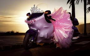 Wallpaper pink, skirt, Motorcycle
